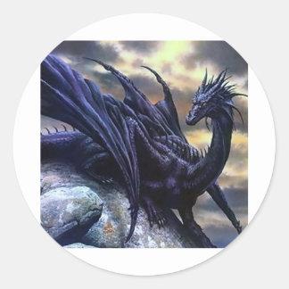 Black dragoon classic round sticker
