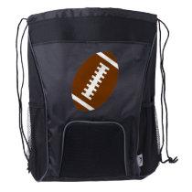 Black Drawstring Backpack: Football Drawstring Backpack