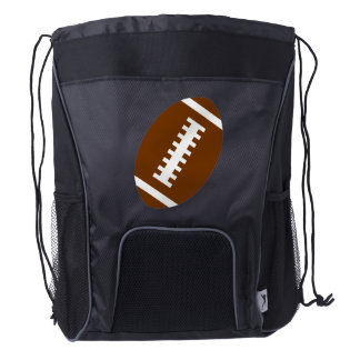 Black Drawstring Backpack: Football Drawstring Backpack