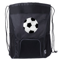 Black Drawstring Backpack: Soccer Drawstring Backpack