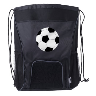 Black Drawstring Backpack: Soccer Drawstring Backpack