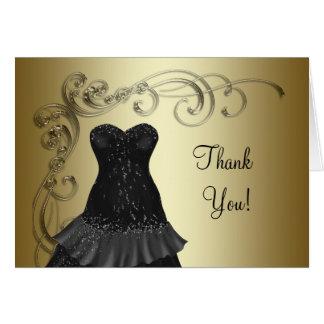 Black Dress Black Gold Thank You Cards