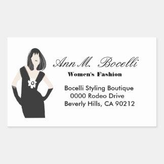 Black Dress Fashion Women Model Modern Designer Rectangular Sticker