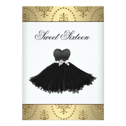 Black Dress Gold Chandelier Sweet Sixteen Birthday Personalized Invitations
