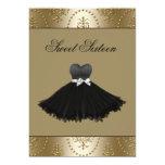 "Black Dress Gold Chandelier Sweet Sixteen Birthday 5"" X 7"" Invitation Card"