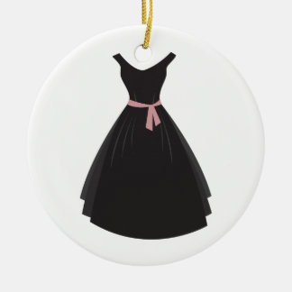 Black Dress Double-Sided Ceramic Round Christmas Ornament