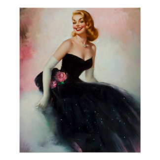 Black Dress Pin Up Art Poster