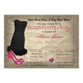 black dress & pink heels bachelorette party invite