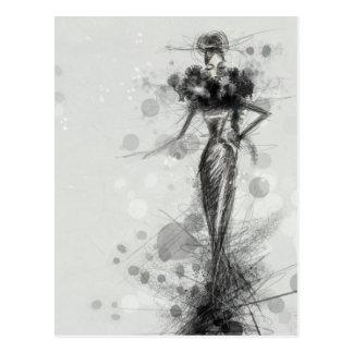 Black dress postcard