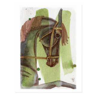 Black Dressage Horse On Serpentine Watercolor Postcard