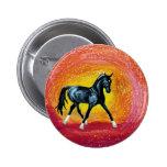 Black Dressage Stallion Button