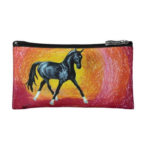 Black Dressage Stallion Cosmetic Bags