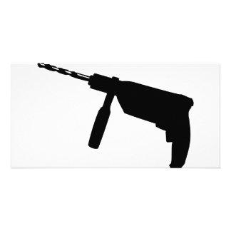 black drill machine icon card