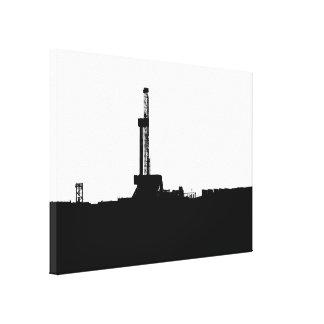 Black Drilling Rig Silhouette Canvas Print