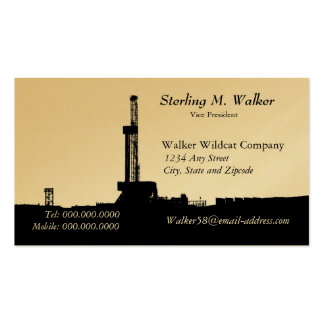 Black Drilling Rig Silhouette (Gold Color) Business Card