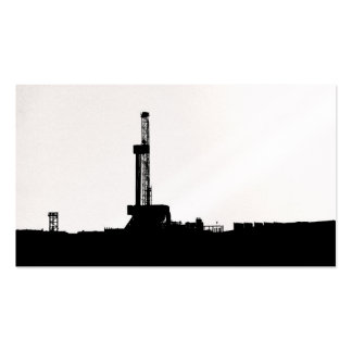 Black Drilling Rig Silhouette on White Background Business Card Templates
