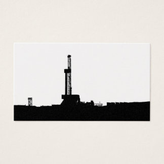 Black Drilling Rig Silhouette on White Background Business Card