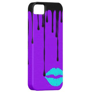 Black Drip Teal Lips Purple Custom Case-Mate ID iP