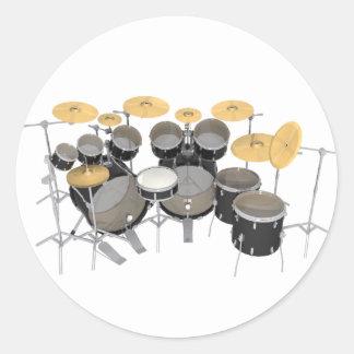 Black Drum Kit: 10 Piece: Classic Round Sticker