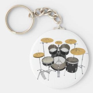 Black Drum Kit: Basic Round Button Keychain
