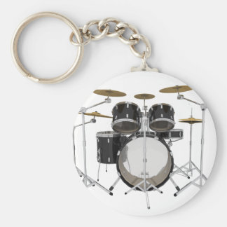 Black Drum Kit: Basic Round Button Keychain