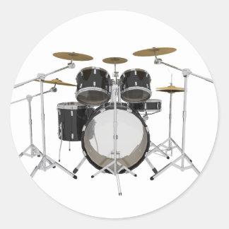 Black Drum Kit: Classic Round Sticker