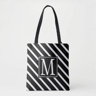 Black DS1 Striped Monogram Tote Bag