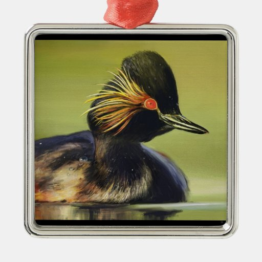 Black Duck bird portrait painting Square Metal Christmas Ornament