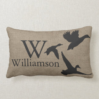Black Duck Silhouettes Faux Burlap Family Name Lumbar Pillow