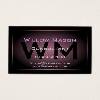 Black & Dusty Pink Framed Monogram - Business Card