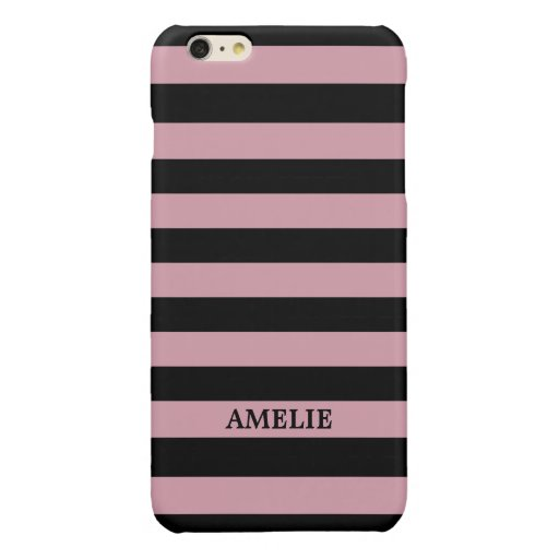 Black Dusty Rose Stripes Pattern {pick your color} Glossy iPhone 6 Plus Case