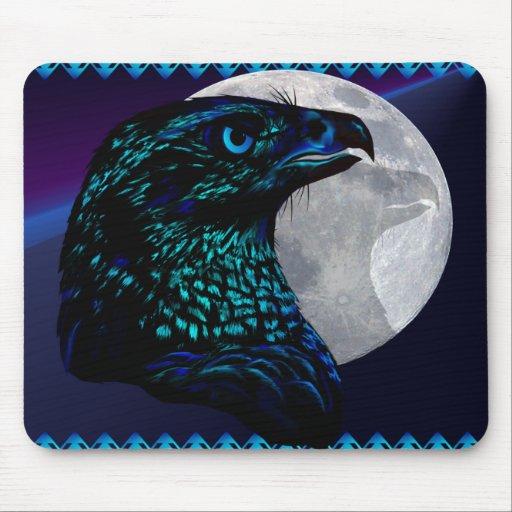Black Eagle and Moon_Mousepad Mouse Pads