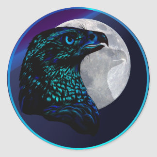 Black Eagle and Moon-Stickers Classic Round Sticker