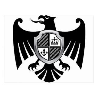 Black Eagle with Silver Shield Royal Vector Postcard