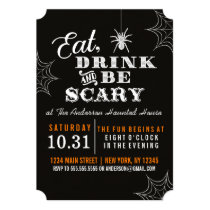 Black Eat Drink and Be Scary Halloween Party Invitation