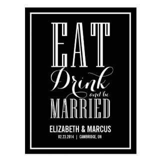 Black Eat Drink and Married Save the Date Postcard