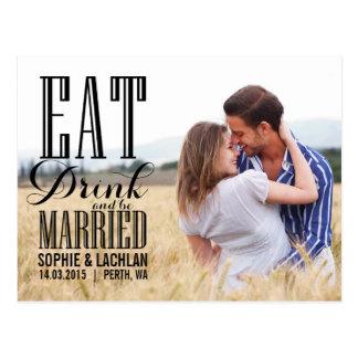 Black Eat Drink Be Married Invitation Postcard II