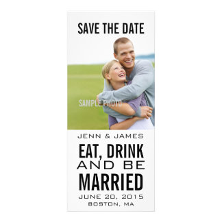 Black EAT DRINK BE MARRIED Photo Save the Date Custom Announcement