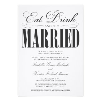 Amazing Black Eat, Drink U0026amp; Be Married | Wedding Invitation