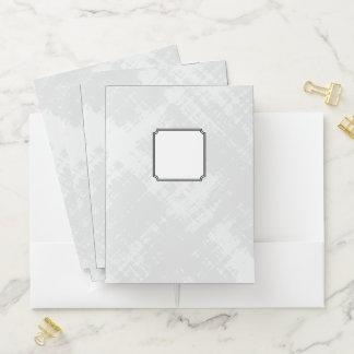 Black Edged Monogrammed Label on Textured Gray #5 Pocket Folder
