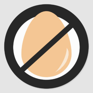 Black Egg Free No Eggs Allergy Warning Classic Round Sticker