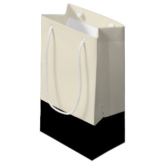 Black & Eggshell White Color Block Gift Bag