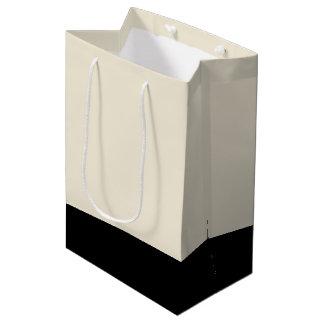 Black & Eggshell White Unisex Color Block Medium Gift Bag