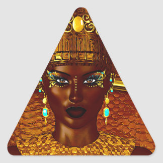 Black Egyptian princess in our modern digital art Triangle Sticker
