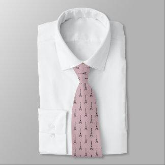 Black Eiffel tower pattern on dusty pink Neck Tie