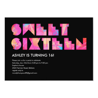 Black Electric Glow Sweet 16 Invitations