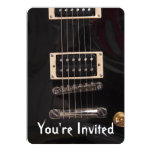 Black Electric Guitar Birthday Party Invitations