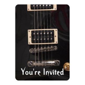 Black Electric Guitar Birthday Party Invitations