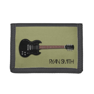 Black Electric Guitar Boys Personalized Wallet