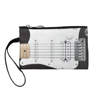 Black Electric Guitar Key Coin Clutch Change Purses